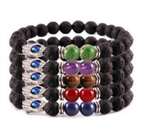 JLN Fatima Hand Lava Pulsera Piedra Natural Siete Chakra Yoga Energía curativa Cuentas de energía Pulsera de estiramiento hecha a mano Amuleto para hombre y mujer