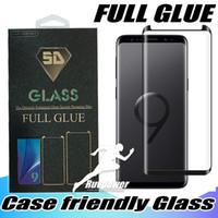 Samsung Galaxy S21 S9 Not 9 8 S8 Artı S20 Ultra Tam Yapıştırıcı Tutkal Telefon Kılıfı Temperli Cam 3D Perakende Paketi ile Kavisli