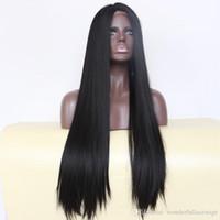 자연 흑인 1b # 중간 부분 긴 실키 스트레이트 합성 전체가 발 내성 합성 레이스 블랙 여성을위한 앞 가발
