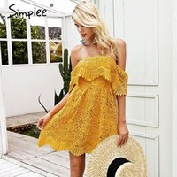 Simplee Embroidery off shoulder solid lace women dresses Sex...