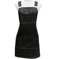 All'ingrosso-New Fashion Black Cotton Denim Divertente Cooking Work con tasche Strap carino Barber Cafe Restaurant Unisex Grembiule Tablier Cuisine