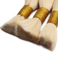 Promoção Top Quality 613 Bleach loira de cabelo humano trança aparente Não há trama reta cabelo humano brasileiro comprar 300Gram