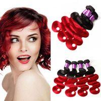 İki Ton Ombre Brezilyalı Bakire Saç Örgü Renkli 1B / Kırmızı Brezilyalı Saç 4 Paketler Ucuz Ombre Vücut Dalga İnsan Saç uzantıları