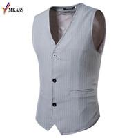 Erkekler Yelekler MKASS Elbise Çizgili Erkekler Için Slim Fit Takım Elbise Yelek Erkek Yelek Casual Kolsuz Örgün İş Ceket