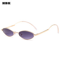 HBK Oval Small Fashion Sunglasses Brand Designer Metal Frame...