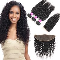 Toptan Brezilyalı Virgin Saç Derin Dalga 3 Paketler ile Dantel Kapatma Frontal Hint Perulu Moğol İnsan Saç Uzantıları atkıları Satıcıları
