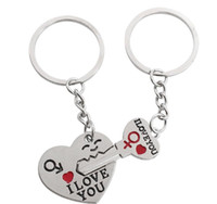 Silver Plated Lovers Gift Couple Heart I LOVE YOU Cupid Keyc...