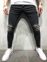 Rap Hiphop Fashion Jeans Mens Spring Autumn Black Holes Ripp...