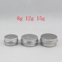 8g 12g 15g küçük yuvarlak boş balsamı alüminyum pot Mini seyahat boyutu metal kozmetik krem kavanoz Örnek cilt bakımı krem ...