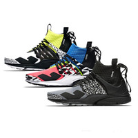 2019 New Acronym x Presto Mid Hommes Femmes Mode Casual Chaussures Designer Blanc Blanc Noir Rose Casual Chaussures Taille 36-45