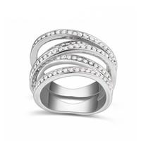 di marca 2018 nuovo impegno lusso anello regalo di nozze anello CZ bianco zirconio gioielli femminili alla madre