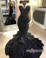 2018 Prom Dresses Sexy Black Illusion High Neck Sequins Merm...