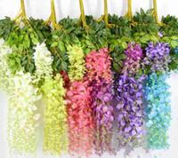 Elegante Flor de Seda Artificial Wisteria Flor Vine Rattan For Garden Home Wedding Decoration Supplies 75cm y 110cm Disponible 7 colores