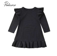 Brand New 1-6Y Ruffled Cute Toddler Neonate Dress manica lunga Ruffles Solid Black knee-lunghezza Tromba Dress Party Dress