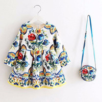 Long Sleeve Floral Dress Girl Christmas Dress 2018 Autumn Wi...