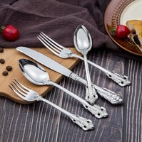 High grade retro style cutlery set stainless steel 5- piece f...