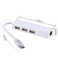C ~ 3 포트 유형 RJ45 이더넷 USB 2.0 허브 네트워크 어댑터 케이블 컴퓨터 화이트 케이블 용 USB TYPE-C 장치 용