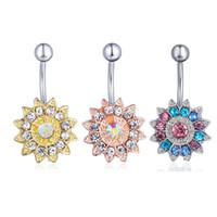 D0691 (4 colori) Cancella Ab Sunflower Style Bottone ombrelloni Anello Piercing Body Jewlery 1.6 * 11 * 5/8 Bily Ring Body Jewelry