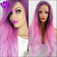 Three Tone Dark Lilac Purple Ombre Pink To Pastel Lavender H...