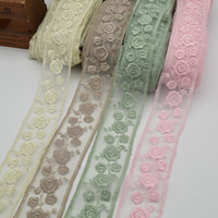 Ajuste bordado delicado del cordón de Tulle de la flor de la venta caliente 5yards para DIY de par en par: ajuste neto del cordón los 5.5CM para la ropa