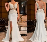 New Coming Illusion Gorgeous Prom Dresses V Neck Side Split ...