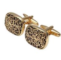 Regalo en caja de oro patrón de diseño de Roma Gemelos Gemelos de los hombres para la boda al por mayor de regalo, DROPSHIOING
