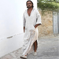 Mens Ethnic Robes a maniche lunghe a maniche lunghe con cappuccio Vintage Casual Dress Kaftan t shirt da uomo casual 2018 Vintage Dress Kaftan