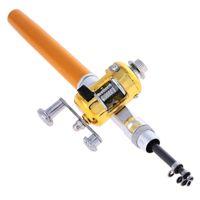 휴대용 미니 낚시로드 포켓 망원경 미니 낚싯대 알루미늄 합금 펜 모양의 낚시로드 콤보와 릴 휠 6 색