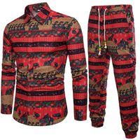 Men Tracksuits Vintage Print Man Clothing Autumn Wear Long Sleeve Suit Set Long Pants Size M-5XL