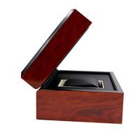 Супер Качество Роскошные Модные Деревянные Коробки Для Часов красная бумага квадратный корпус часов с подушкой дисплей ювелирных изделий коробка для хранения Буклет Карты