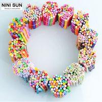 50 adet Popüler Nail Art Fimo Tiny Fimo Dilimleri Polimer Kil Nail Art Süslemeleri İpuçları Glitter DIY Charm Nails Araçları 16 Tasarımlar