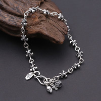 2018 nuovi gioielli moda in argento 925 donne braccialetto d-epoca marchio americano di design fatte a mano corona croce fascino di scorrimento cranio