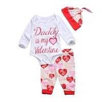 2017 New Brand Daddy is my Valentine Baby Girls Clothes Long...