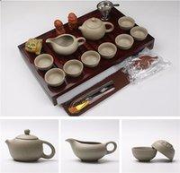 Cinese Viola argilla ceramica set da tè Kung Fu Bicchieri per tè Pot vendite Tazza da tè Zuppiera infusore legno naturale Tray Hot