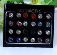 Pendientes magnéticos 4-6mm Sin orificio Pendientes magnéticos de cristal redondo para mujer Pendientes de Punk Pendientes