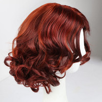 Short Burgundy Synthetic Wavy Hair Wig Heat Resistant Fiber ...