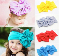 New Baby Girls Bow Headbands Europe Style big wide bowknot h...