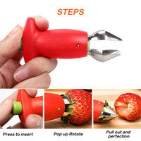 Çilek Huller Remover Taşınabilir Domates Çilek Kök Yaprak Sökücü Temizleme Meyve Tart Mutfak Alet Karpuz Kırmızı