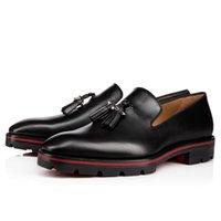 2018 модные новые мужские туфли черные кожаные мокасины шип шпилька формальные туфли мужские деловые туфли бахрома красная подошва