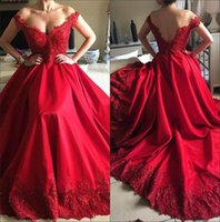 2018 Red Sheer Short Sleeves Satin Long Prom Dresses Lace Ap...