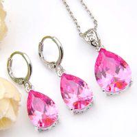 heißer Verkauf rosafarbene Kristalltropfen-Halsketten-Ohrring-Schmucksachen stellen silberne Anhänger-Halsketten-Tropfen-Ohrring-Schmucksachen der Zirkonia-925 für Frauen ein