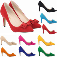 11 Colors Sexy Pointed Toes High Heels Women Pumps Bowtie OL...