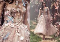 2020 새로운 섹시한 파올로 세바스찬 댄스 파티 드레스 블러쉬 핑크 긴 소매 꽃 자수 파티 이브닝 가운 발목 길이 얇은 명주 그물 정장 착용