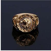 Monili di lusso dell'anello dorato dell'anello della testa di leone di Punk Hip Hop degli uomini classici speciali con i cristalli di CZ
