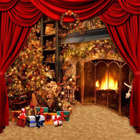 Indoor Fireplace Christmas Tree Photography Backdrop Printed...