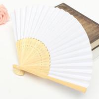 Toptan 23 cm Düğün Beyaz Renk Kağıt El Fan Düğün Parti Dekorasyon Promosyon Favor Ücretsiz Nakliye
