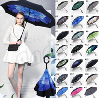 New Windproof Reverse Folding Reverse Umbrella Double Layer Inverted Chuva Umbrella Self Stand Inside Out Regenschutz C-Hook Regenschirme