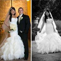 2018 Schöne Organza Meerjungfrau Brautkleider Rüschen Weiß Tiers Plus Size Arabisch Land Saudi Brautkleid Dubai Afrikanische Braut Custom