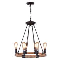 Loft Rope Rustikale Kronleuchter 6-Licht Vintage Anhänger Beleuchtung Kronleuchter Eisen Adison Kette Droplights Für Wohnzimmer Innenbeleuchtung