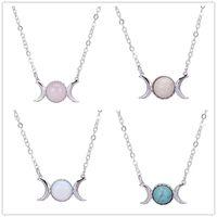 Fahsion gümüş kaplama doğal taş kolye güneş ay opal turkuaz pembe kristal kolye kolye kadınlar için takı